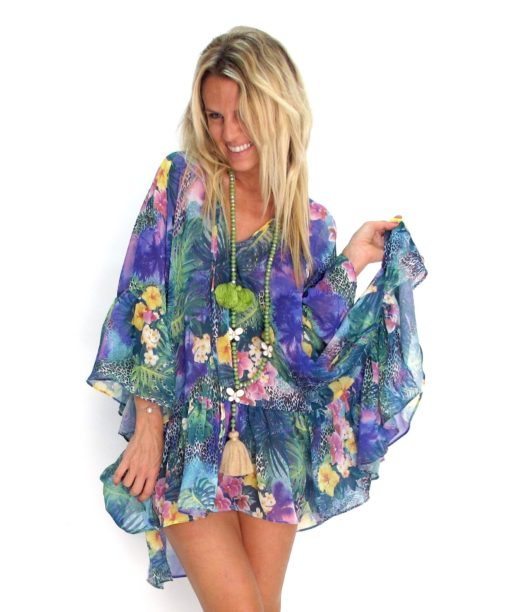 Poncho Tropical Matana vetement boheme chic les neobourgeoises tunique boheme robe boheme clothe boheme tunique chic vetement tunique fashion brand les neobourgeoises resortwear nice