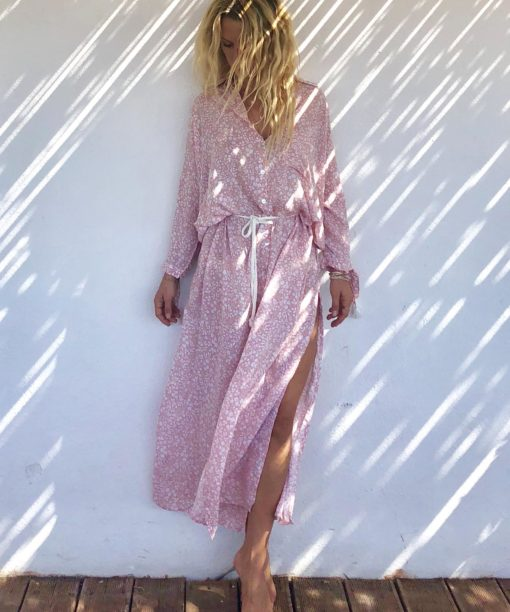 Melrose dress long nude - robe romantique - robe chic