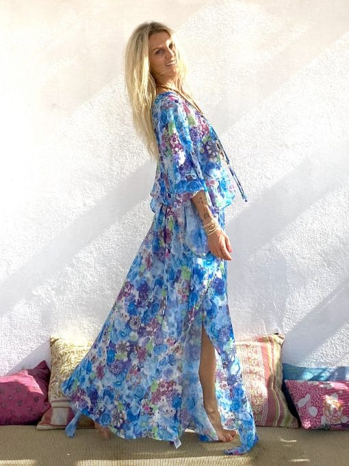 Dress Canaries Ice blue - Les Néobourgeoises - Bohemian clothing