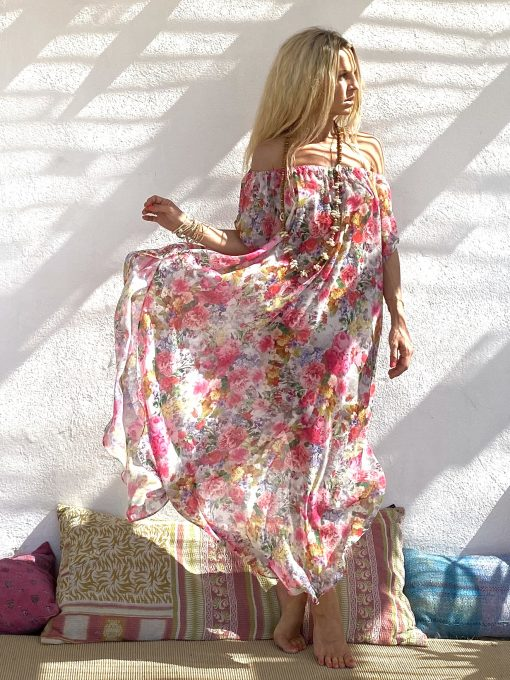 Dress holywood pink flowers - Les Néobourgeoises - Chic & bohemian clothing