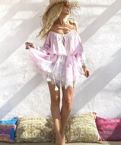 Dress sunny pink - Les Néobourgeoises - Bohemian chic clothing