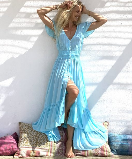 Dress mia turquoise - Les Néobourgeoises - Bohemian clothing