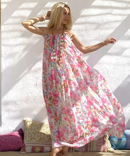 Dress guyane pink flowers - Les Néobourgeoises - Bohemian chic clothing