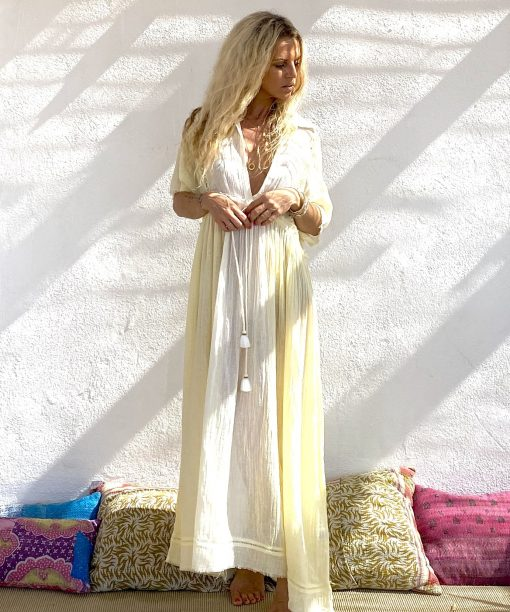 Dress lovely long yellow - Les Néobourgeoises - Bohemian chic clothing