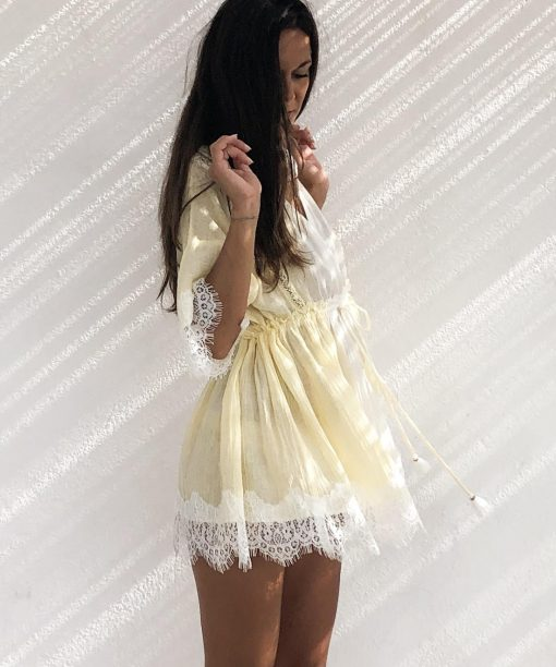Dress LOVELY Lux court yellow - Les Néobourgeoises - Bohemian chic clothing